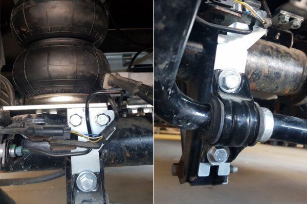 Установка нижних кронштейнов пневмоподушек под крепление стабилизатора поперечной устойчивости Ford Transit 8 спарка